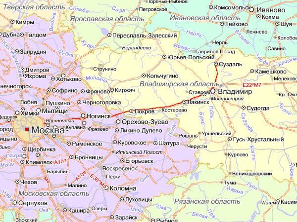 Схема проезда до г. Владимира